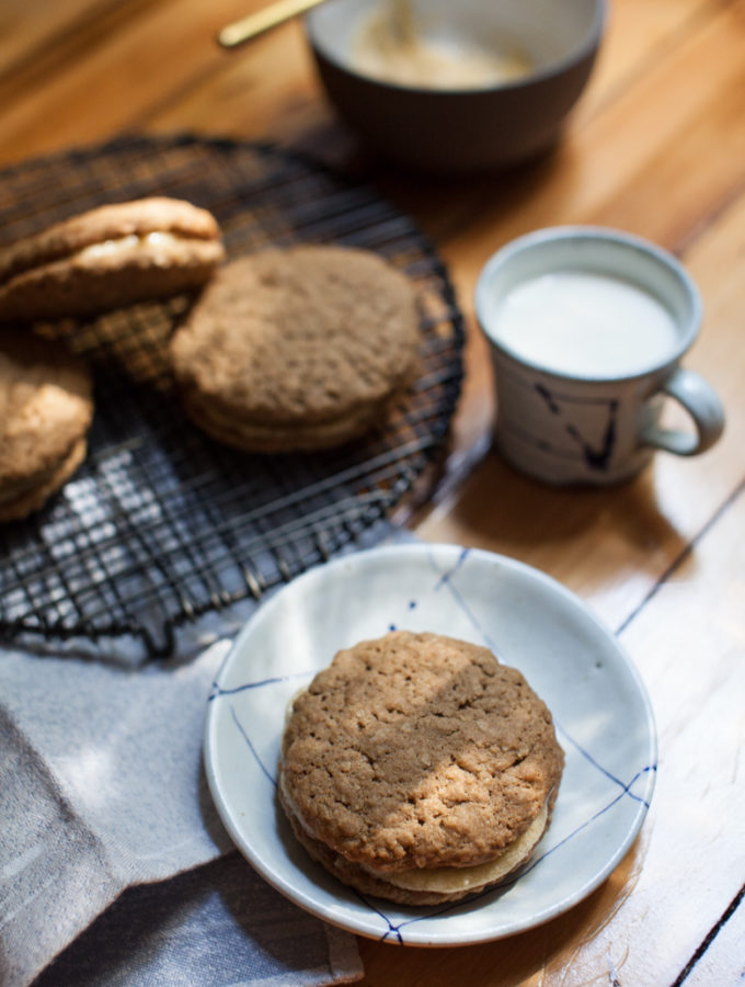 Miso Cream Oatmeal Cookie Sandwiches