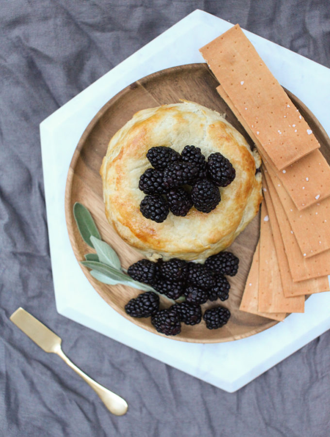Blackberry Sage Baked Brie and a book about cheese
