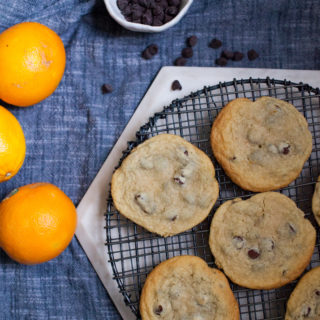 orange cinnamon chocolate chip cookie recipe for holiday and christmas cookies and baking.